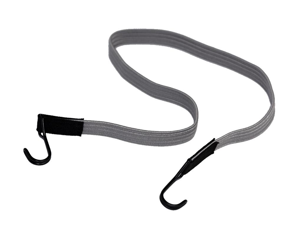 Flachgummi-Band mit 2 Doppelhaken 100cm Grau