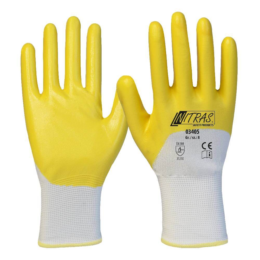 NITRAS Nitrilhandschuhe, Polyester, weiß, Nitril-Beschichtung, gelb, 3/4-beschichtet, Strickbund