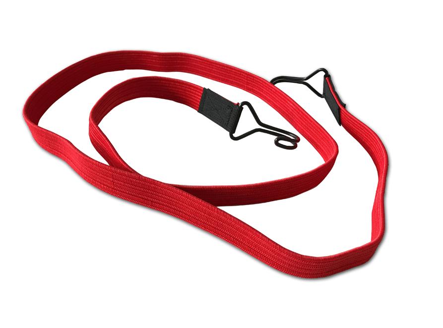 Flachgummi-Band mit 2 Doppelhaken 150cm Rot