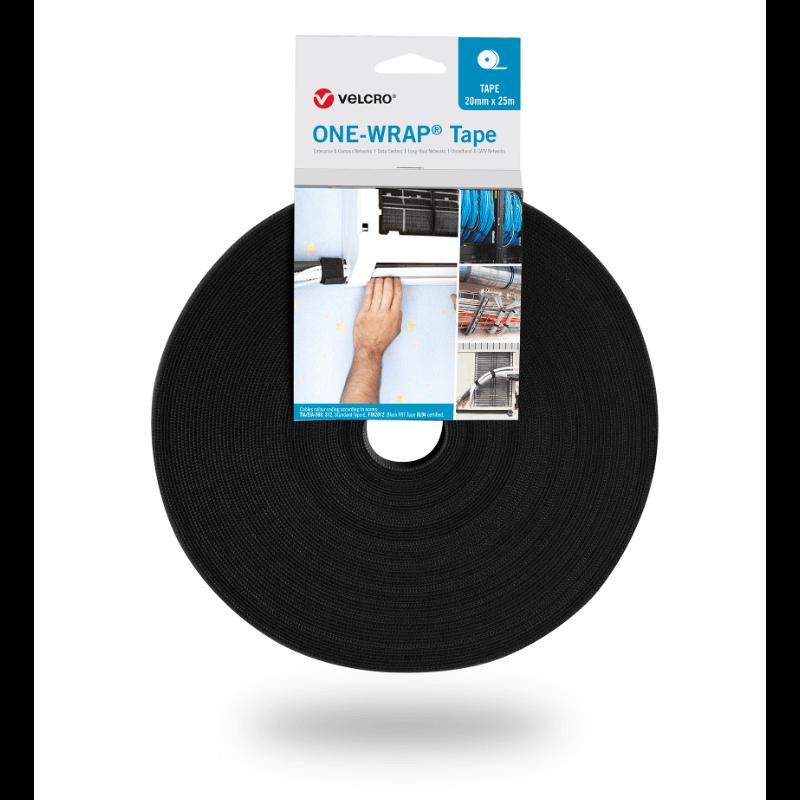 ONE-WRAP® Band der Marke VELCRO® 20mm x 25m auf Rolle Schwarz