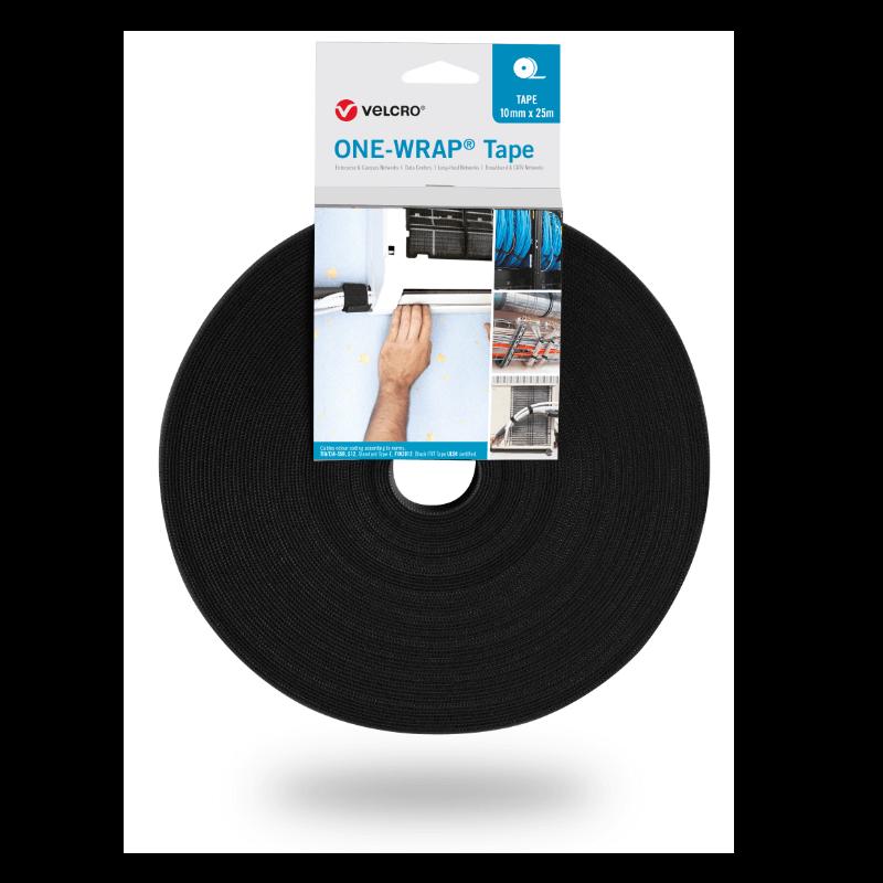 ONE-WRAP® Band der Marke VELCRO® 10mm x 25m auf Rolle Schwarz