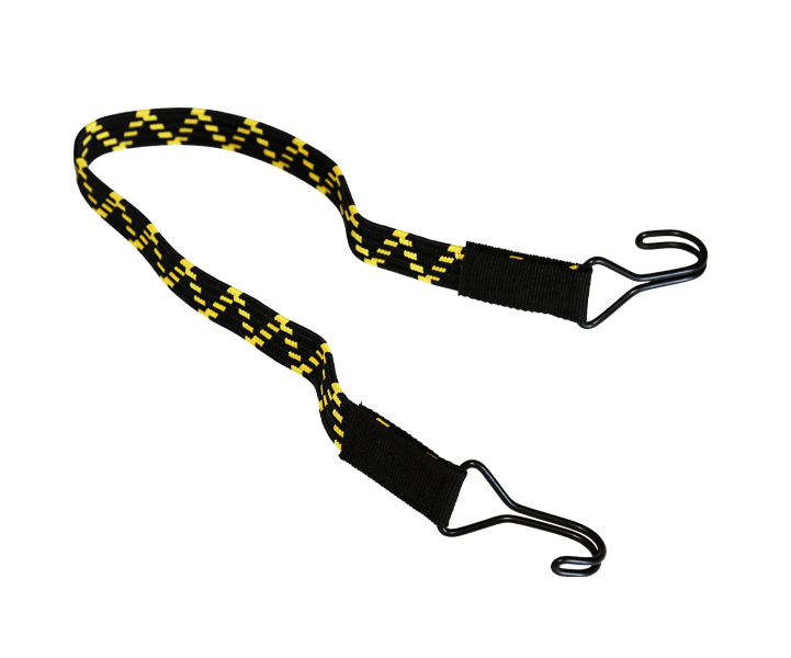 Flaches Gummiband mit 2 Doppelhaken 60cm Gelb/Schwarz